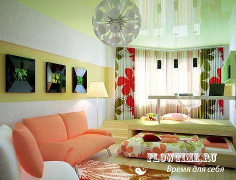 Дизайн интерьера спальня и гостиная в одной